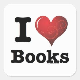 I Heart Books I Love Books! Swirly Curlique Heart Square Sticker