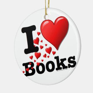 I Heart Books! I Love Books! (Trail of Hearts) Ceramic Ornament