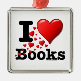 I Heart Books! I Love Books! (Trail of Hearts) Metal Ornament
