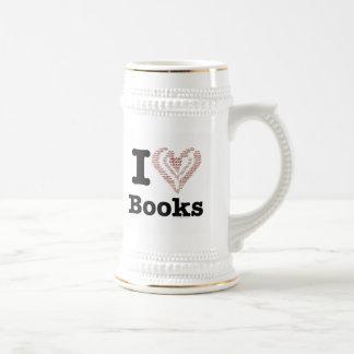 I Heart Books - I Love Books! (Word Heart) Beer Stein