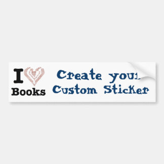 I Heart Books - I Love Books! (Word Heart) Car Bumper Sticker
