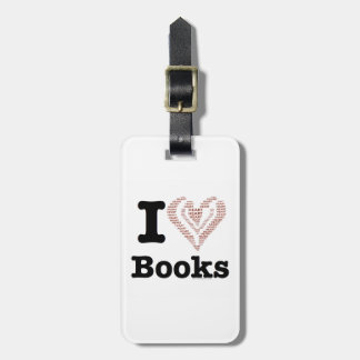 I Heart Books - I Love Books! (Word Heart) Tag For Bags