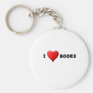 I heart books keychain