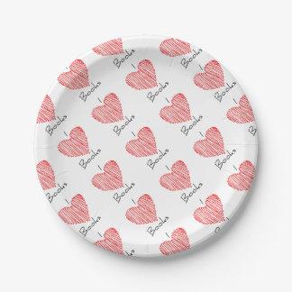 I Heart Books Paper Plate