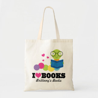 I Heart Books Personalized Library Tote Bag
