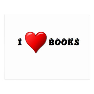I heart books postcard