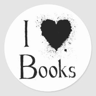 I Heart Books Round Sticker