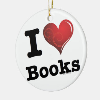 I heart books Swirly Curlique Heart 02 FADE 4000x4 Ceramic Ornament