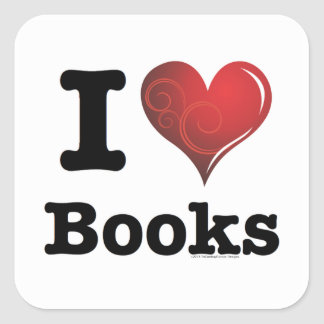 I heart books Swirly Curlique Heart 02 FADE 4000x4 Square Stickers