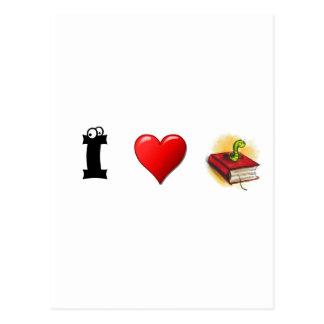 I heart Bookworms Postcard