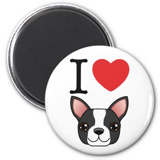 I Heart Boston Terriers 2 Inch Round Magnet
