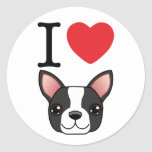 I Heart Boston Terriers Classic Round Sticker