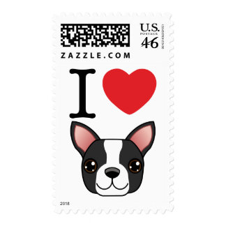 I Heart Boston Terriers Postage Stamp