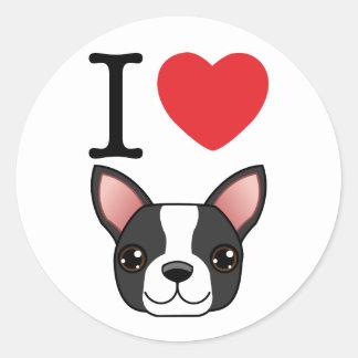 I Heart Boston Terriers Classic Round Sticker