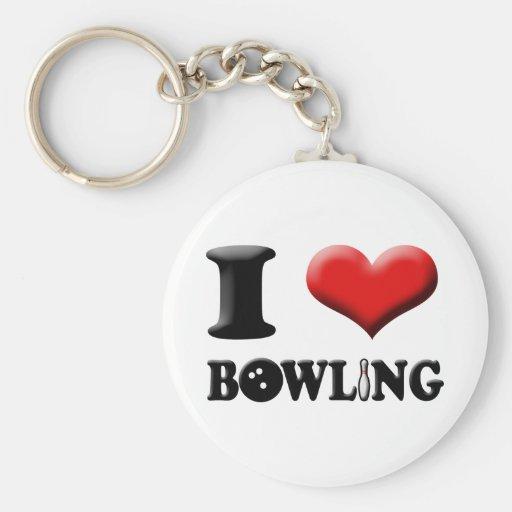 I Heart Bowling Keychain | Zazzle