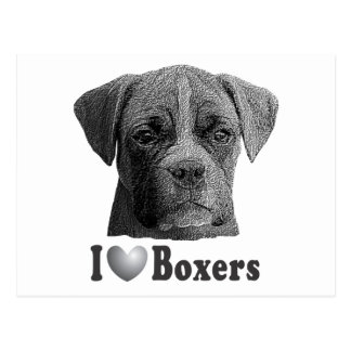 I Heart Boxers w/Stylized Image Postcard