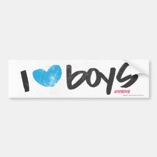 I Heart Boys Aqua Bumper Sticker