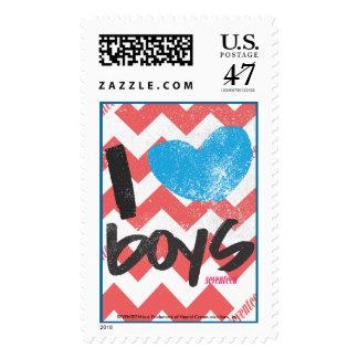 I Heart Boys Aqua Postage Stamp