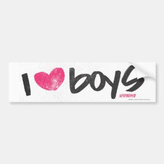 I Heart Boys Magenta Car Bumper Sticker