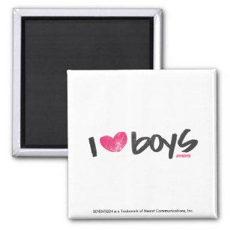 I Heart Boys Magenta Fridge Magnets