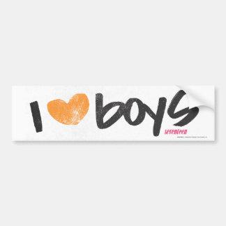 I Heart Boys Orange Car Bumper Sticker