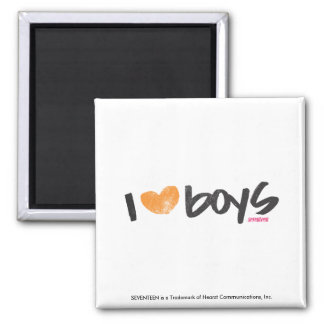 I Heart Boys Orange Magnet