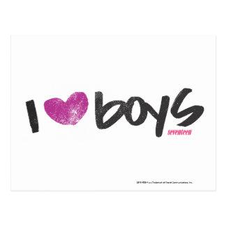 I Heart Boys Purple Postcard