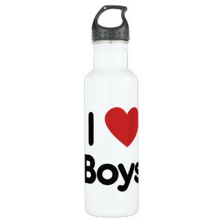 I heart boys stainless steel water bottle