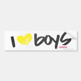 I Heart Boys Yellow Bumper Sticker