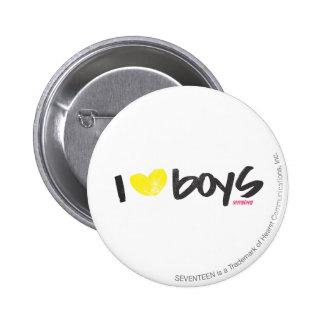 I Heart Boys Yellow Button