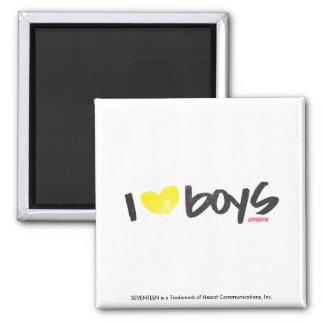I Heart Boys Yellow Refrigerator Magnets