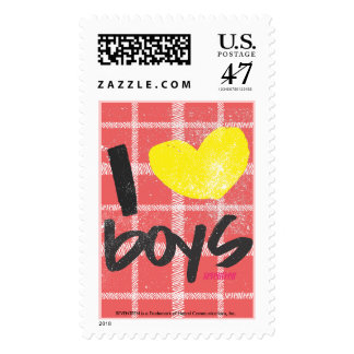 I Heart Boys Yellow Postage Stamp