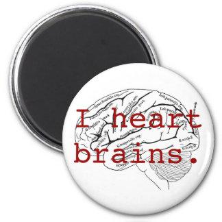 I heart brains. 2 inch round magnet