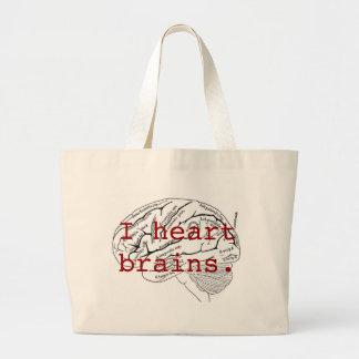 I heart brains. canvas bag