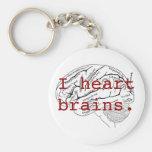 I heart brains. basic round button keychain