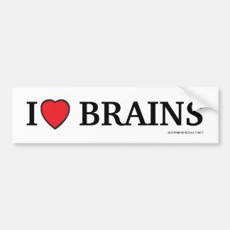 I heart brains car bumper sticker