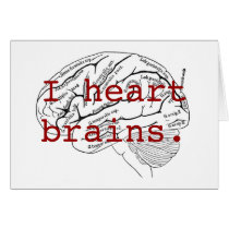 I heart brains. card