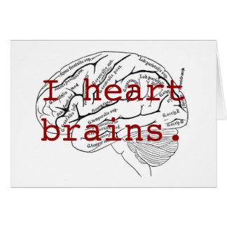 I heart brains. greeting card