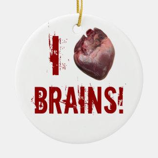 I Heart Brains! Ceramic Ornament