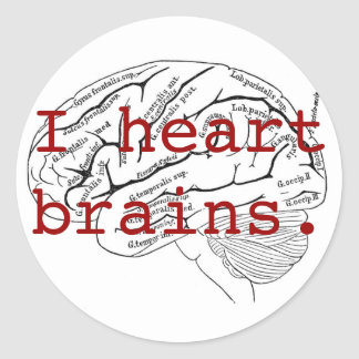 I heart brains. classic round sticker