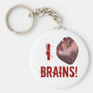 I heart brains! basic round button keychain