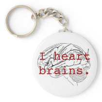 I heart brains. keychain