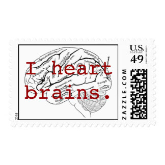 I heart brains. stamp