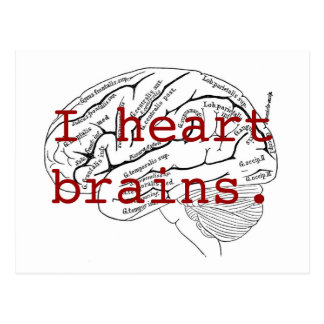 I heart brains. postcard