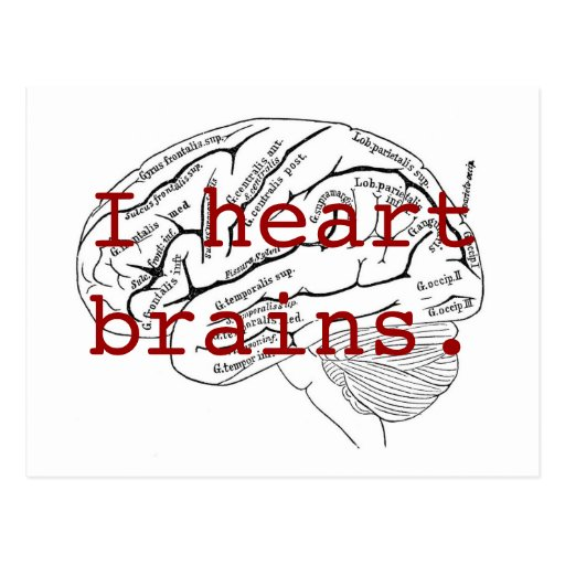I heart brains. postcards