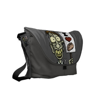 I Heart Brains Zombie Messenger Bag