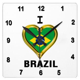 I heart  BRAZIL Flag Square Wall Clock