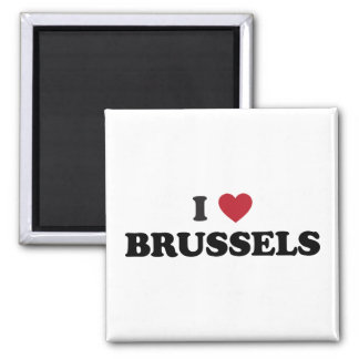 I Heart Brussels Belgium 2 Inch Square Magnet