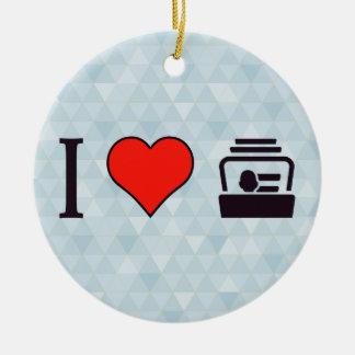 I Heart Business Cards Ceramic Ornament
