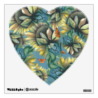 I Heart Butterflies and Sunflowers Wall Decal